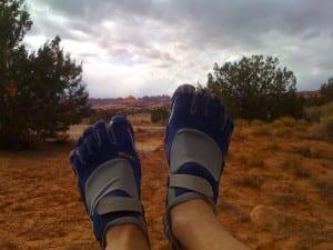 iRunFar's Runner-in-Chief sporting Vibram Five Finger KSOs in Canyonlands NP.