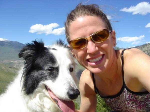 Junebug the dog trail running in Montana