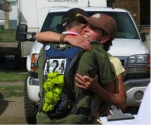 Finish line hug