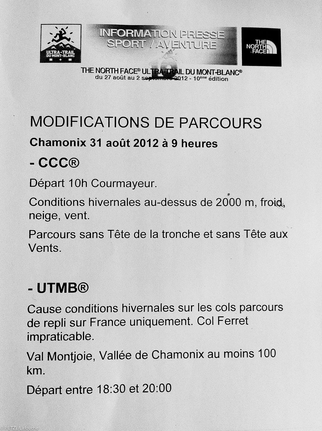 2012 TNF UTMB course change and delay