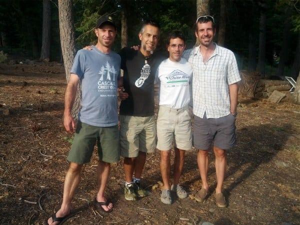 Adam Hewey, Victor Ballasteros, Gary Gellin, and Ben Lewis before their Tahoe Rim Trail attempt.