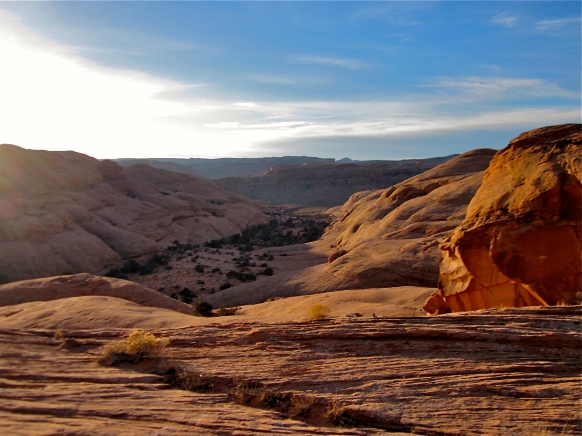 Sunrise slickrockPoison Spider Mesa Trail