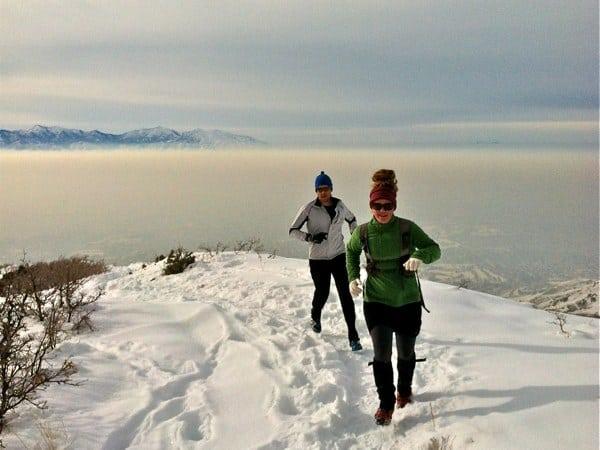 SLC trail running - Granduer Peak in winter