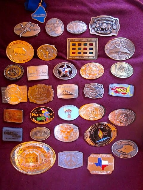 Liz Bauer - 2012 100-mile buckle collection