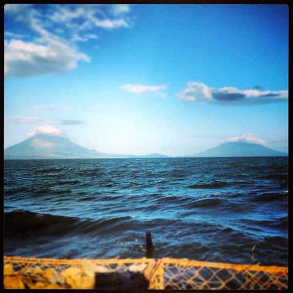 Isla de Ometepe from fun ferry - 2013 Fuego y Agua