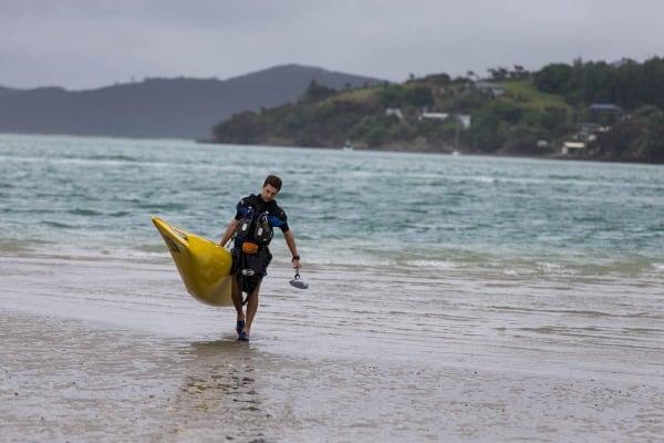 Jez Bragg with a kayak - Te Araroa Trail expedition