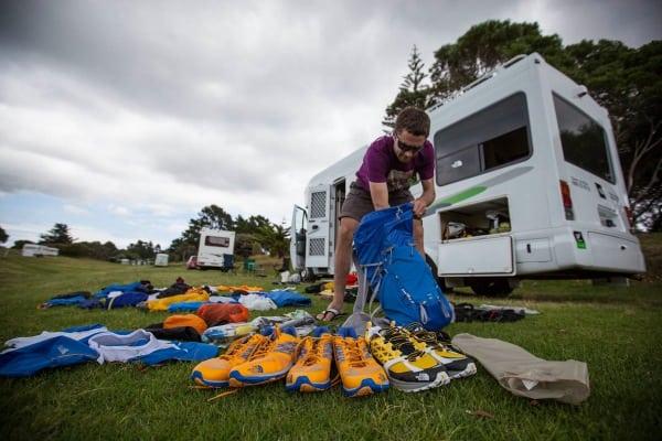 Jez Bragg sorting gear - Te Araroa Trail expedition