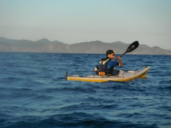 Jez Bragg kayaking in Cook Straight - Te Araroa Trail expedition