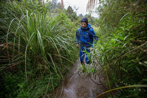 Jez Bragg on a flooded trail - Te Araroa Trail expedition