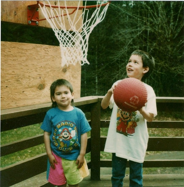 Sage Canaday - with brother playing basketball