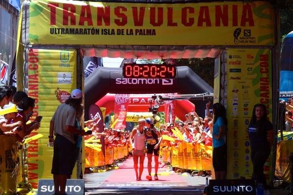 Emelie Forsberg - 2013 Transvulcania Ultramarathon - finish with Nuria