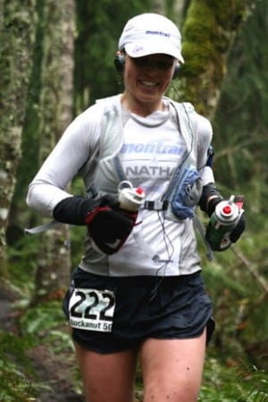 Olga enjoying a run at the 2006 Chuckanut 50k.