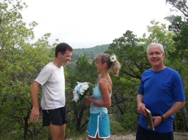 A scenic Austin, Texas trail set the scene for Larry and Olga's wedding.