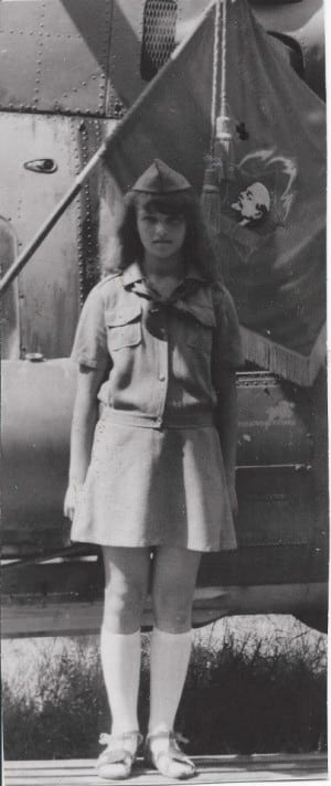 A 13 year-old Olga poses for a picture at Pioneer Camp in Russia.