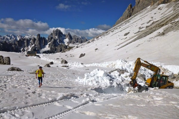Clearing the trail near Forc Lavaredo.
