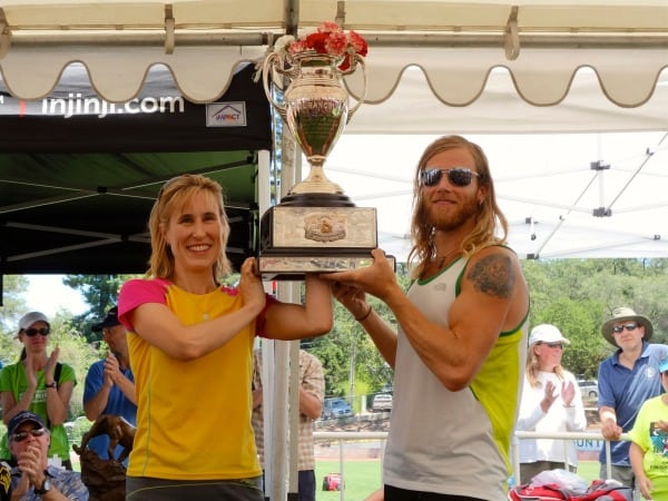 Pam Smith - 2013 Western States 100 - with Timothy Olson trophy