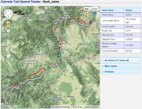Scott Jaime - Colorado Trail FKT - map