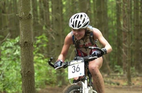 Tina en route to winning a 24-hour mountain bike race in 2007.