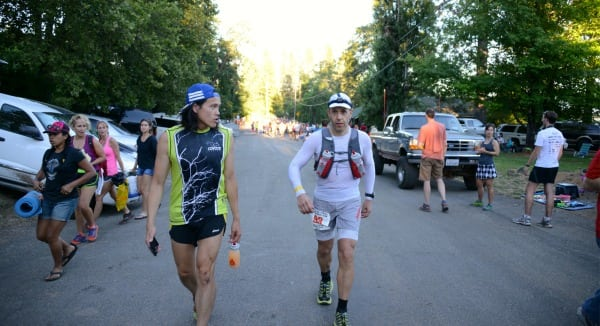 Game face on for Andre Blumberg (with crew Kevin Chan) at Western States 100 Michigan Bluff after a very hot day
