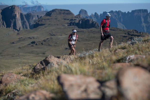 Ryan Sandes-Ryno Griesel-Grand Drakensberg Traverse-mountain backdrop