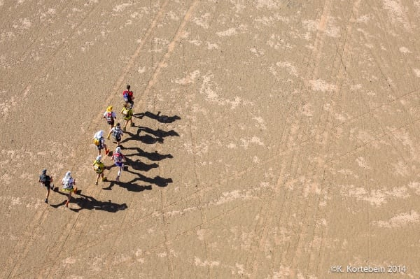 2014 Marathon des Sables - elite runners from helicopter