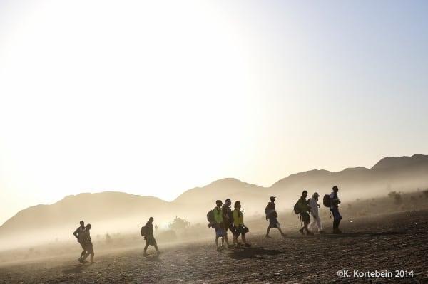 2014 Marathon des Sables - runners and wind-blown sand
