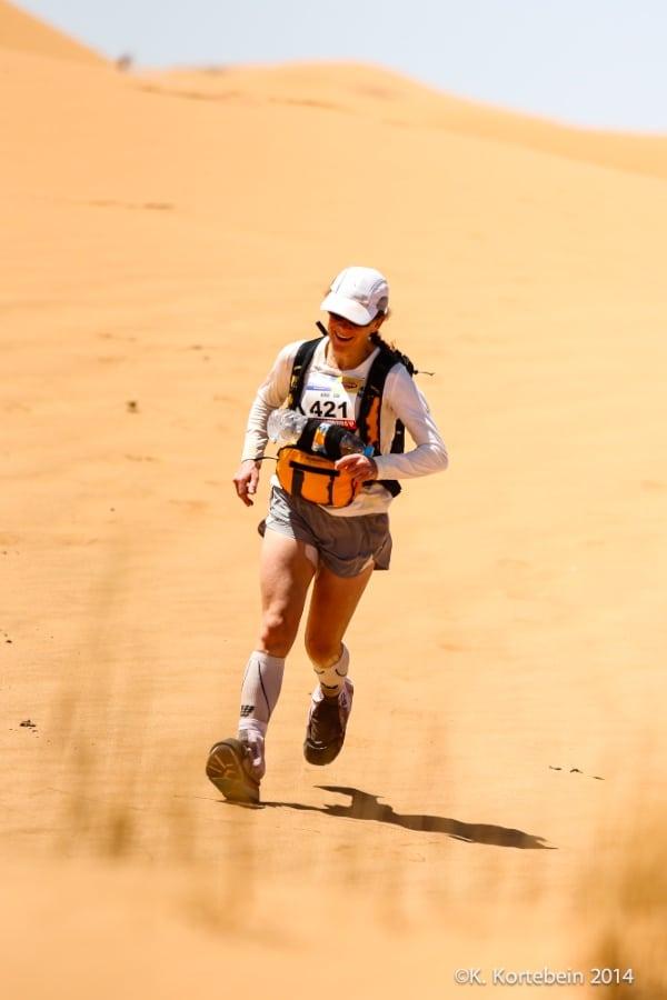 2014 Marathon des Sables - Nikki Kimball in sand dunes