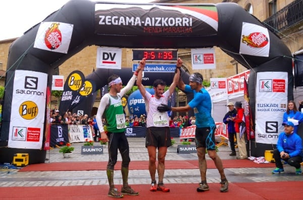 Kilian Jornet - Marco De Gasperi - Luis Alberto Hernando - 2014 Zegama Marathon men's podium