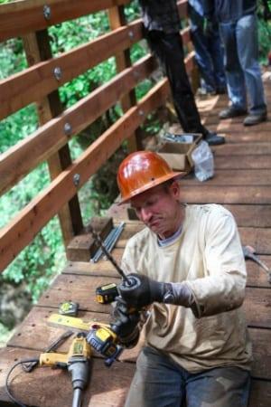 Bill Rose assembling the new Pacific Slab Bridge