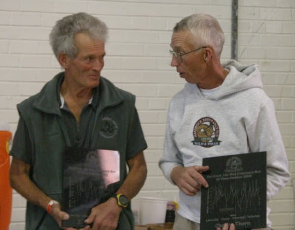 John DeWalt and Charlie Thorn after their 10th Hardrock finishes in 2005