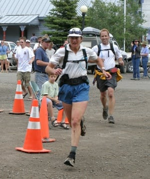 Betsy Kalmeyer finishing first woman at the 2004 Hardrock 100