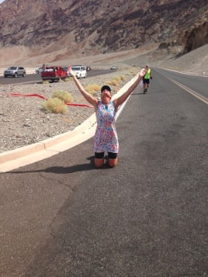 Lisa Smith-Batchen finishing her 2014 Badwater Quad