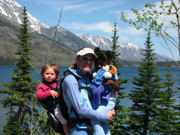 Lisa Smith-Batchen hiking with her two daughters