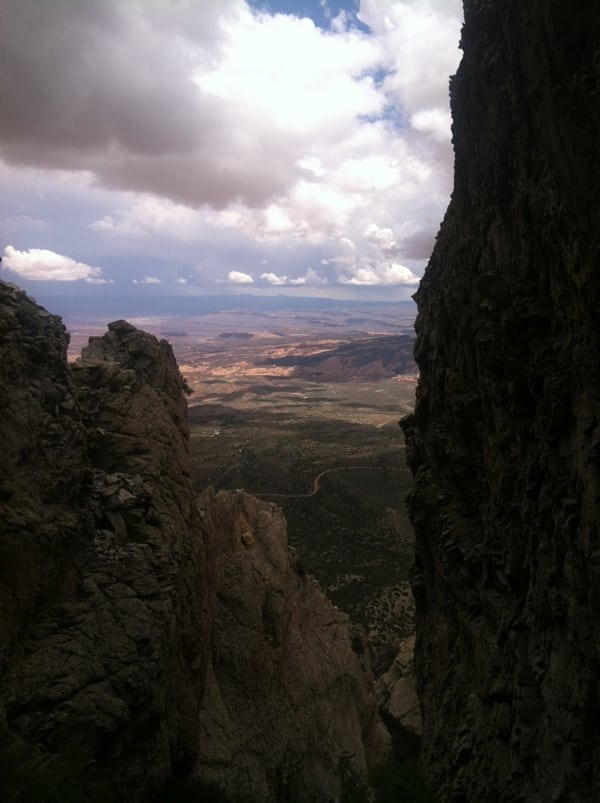 Looking down to the desert from Mt. Hillers