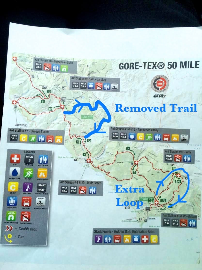 More details of the 2014 The North Face Endurance Challenge 50 Mile Championships course change due to bridge washout