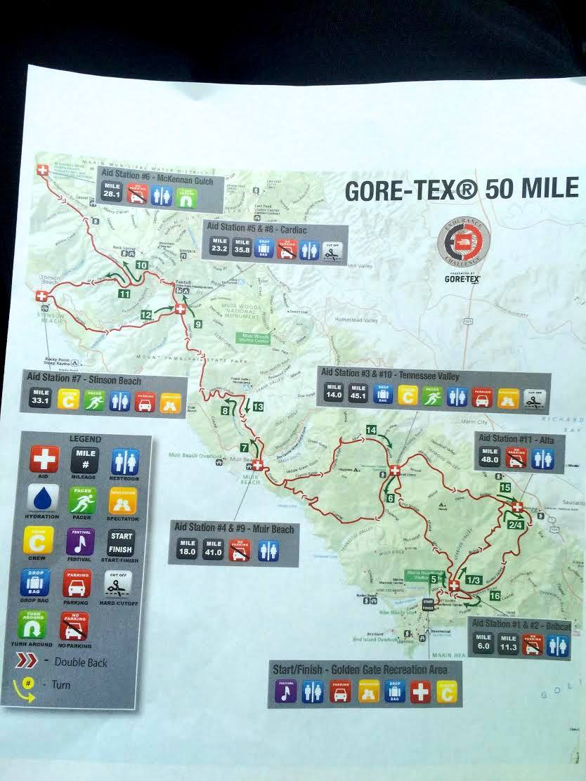 Revised 2014 TNF EC 50 Mile Endurance Challenge 50 Mile Championships map due to inclement weather
