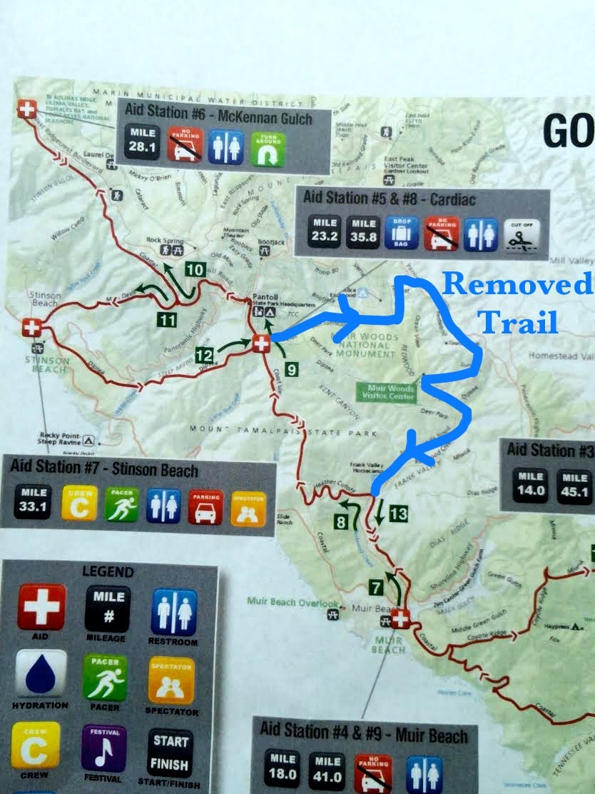 Map showing inclement-weather course change to the 2014 The North Face Endurance Challenge 50 Mile Championships