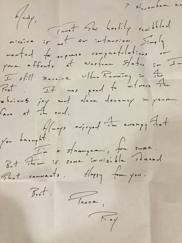 Note from Ray Scannell to AJW