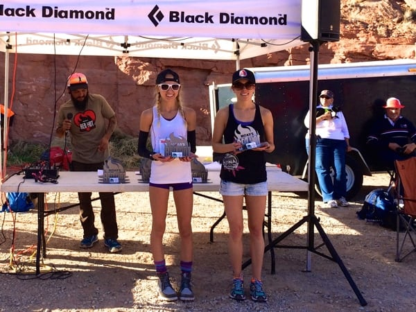 Ashley Erba and Kara Henry - 2015 Moab Red Hot 55k first and second place