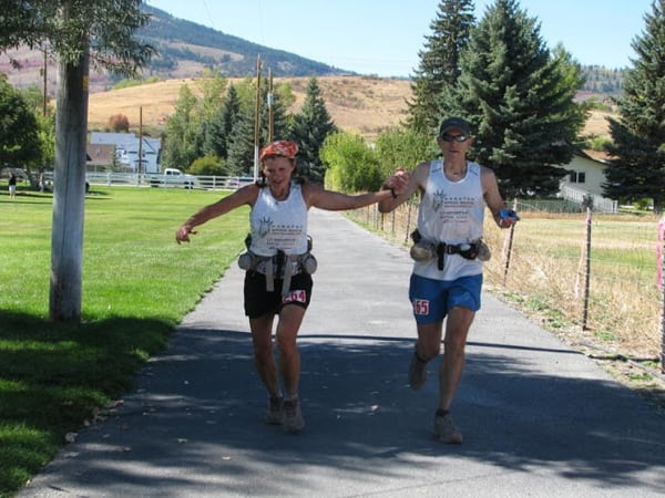 Steve and Deb Pero, 2010 The Bear 100 finish line, photo 9