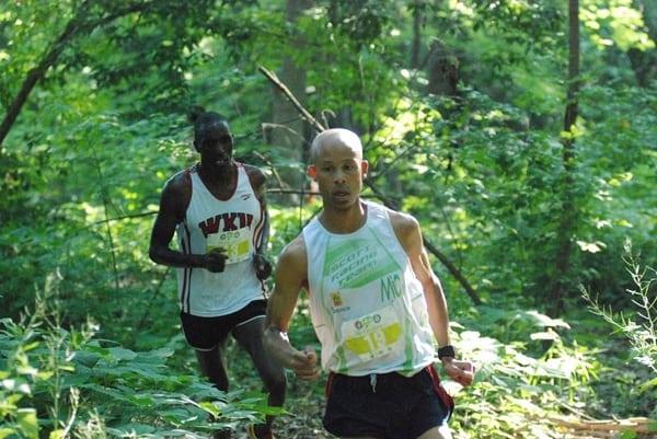 Joe Gray and Patrick Cheptoek at the 2015 Collegiate Running Association Trail Championships