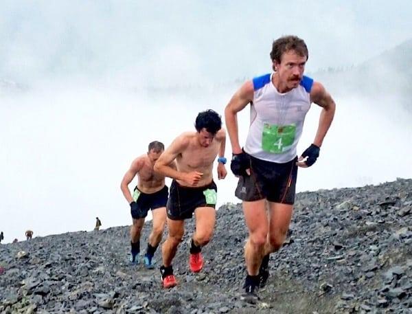 Top 3 men at Mount Marathon summit - 2015 Mount Marathon Race