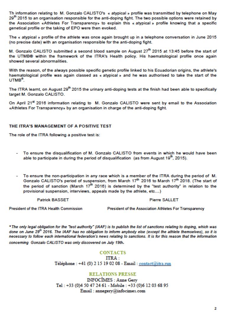 ITRA statement Gonzalo Calisto 2