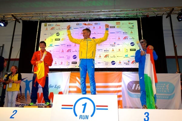 2015 IAU 100k World Championships - mens podium - Asier Cuevas - Jonas Buud - Giorgio Calcaterra