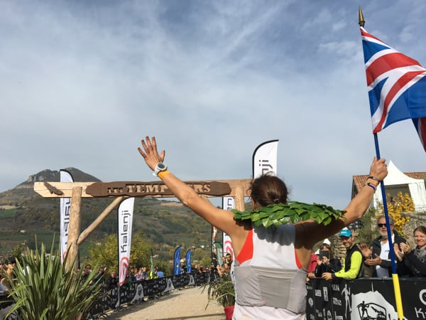 Ellie Greenwood at the 2015 Les Templiers finish
