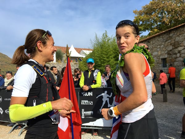 Ellie Greenwood and Jasmin Nunige at the 2015 Les Templiers finish