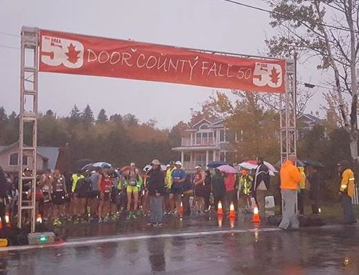 Less than ideal conditions at the Door County Fall 50 start line, by Door County Fall 50 Mile