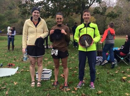 Jennifer Ford and the women's podium at the Patapsco Valley 50k - by Patapsco Valley 50k