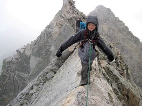 Andrew's son Axel on Capitol Peak's Knife Edge at age 6 in 2013 (Andrew Hamilton)