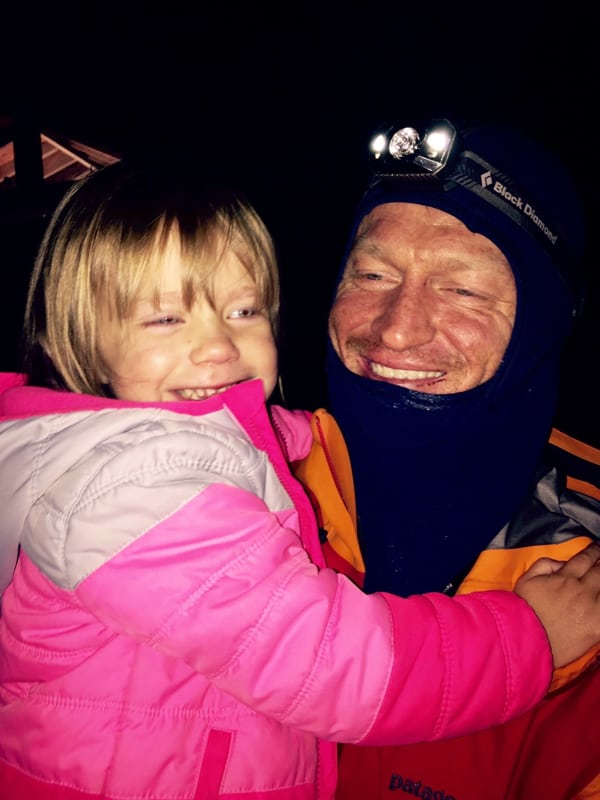 Andrew and his daughter Birdie at the finish (Annabel Foery)